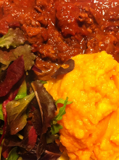 Chili con carne med hokkaidomos