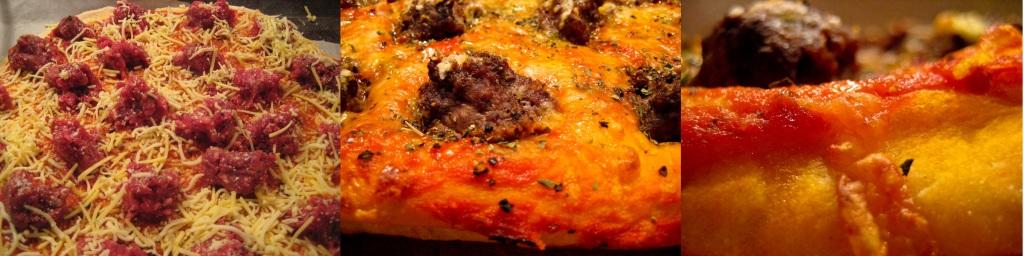 Pizza med små bøffer