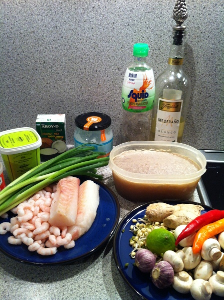 Ingredienser til fiskesuppe