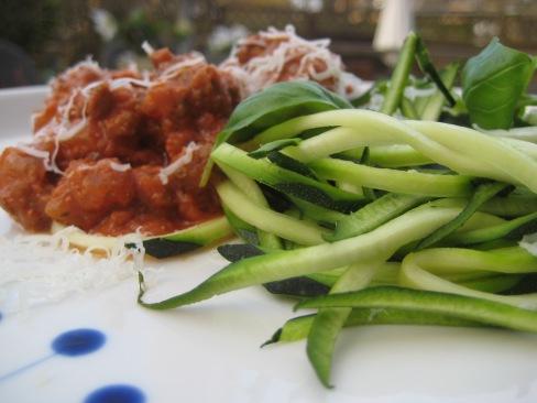 Squash spaghetti med bolognese
