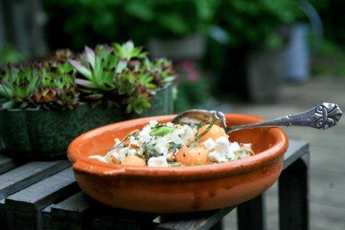 Fristende fennikel råkost med asparges, melon og fåre feta