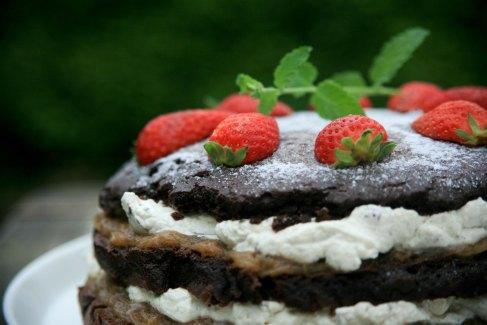 Sukkerfri chokoladelagkage med rabarberkompot og vanilleflødeskum.