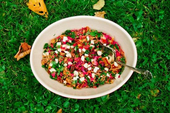 """""""Pastasalat"""" med rødbeder og tahindressing"""