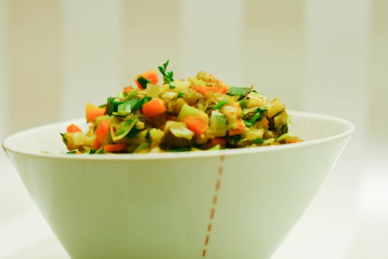 Ratatouille med bagt aubergine
