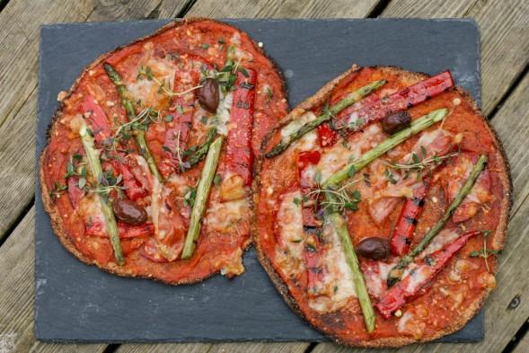Rootza med grillede grøntsager og chorizo