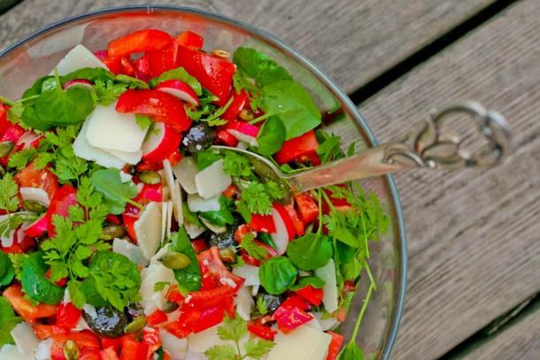 Spicy rød salat med knas og friske krydderurter 5