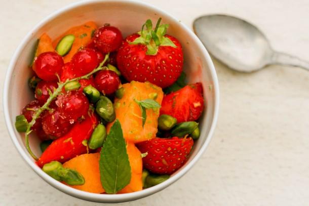 Melonsalat med jordbær, lime og mynte 2