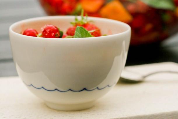 Melonsalat med jordbær, lime og mynte 3
