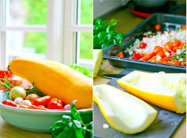 Langtidsbagt squash og tomat med parmesan