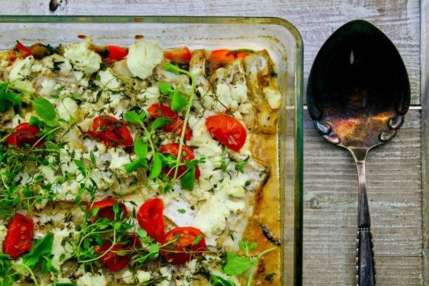 Torsk i fad med svampe, spinat og feta-3