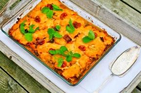 Lasagne med bacon, svampe og søde kartofler(glutenfri)
