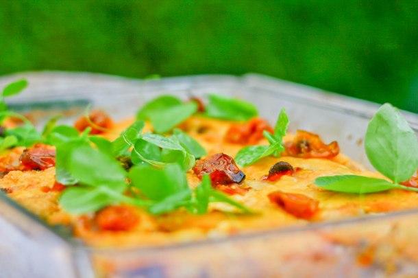 Lasagne med bacon, svampe og søde kartofler-7