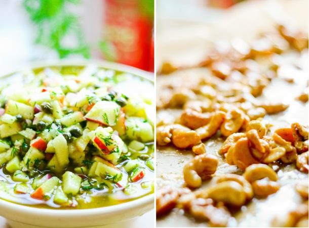Grønkålsalat med honningristede cashewnødder og syltede rødløg