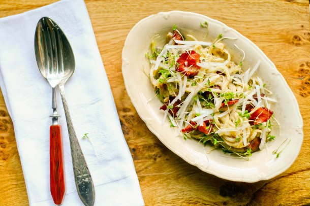 Spaghetti Carbonara med kinaradise og svampe-4