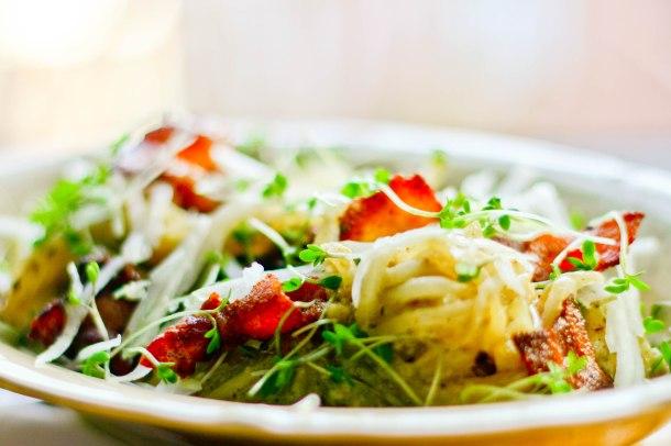 Spaghetti Carbonara med kinaradise og svampe-6