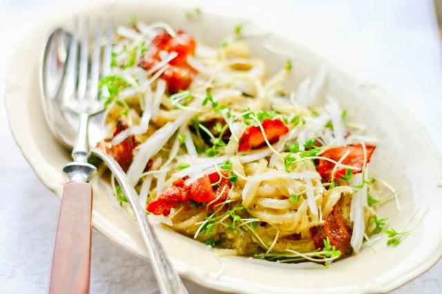 Spaghetti Carbonara med kinaradise og svampe-7