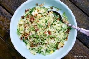 Salat med spidskål, æble, nødder ogpersille