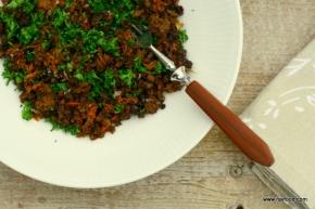 Karamelliseret hvidkål med hakketoksekød