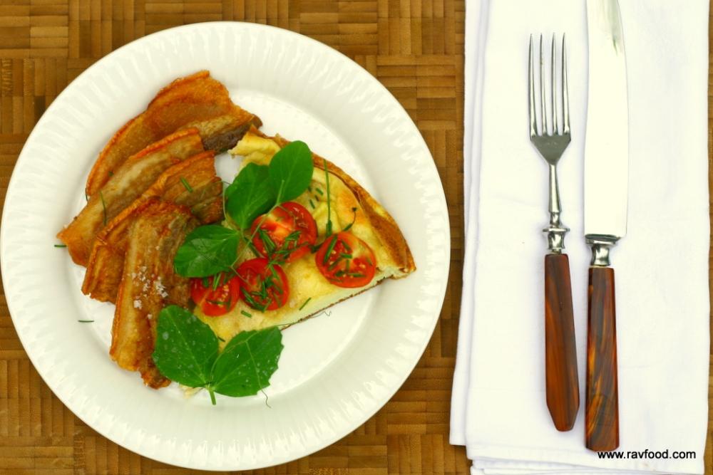 Æggekage med stegt flæsk og grønt (4/6)