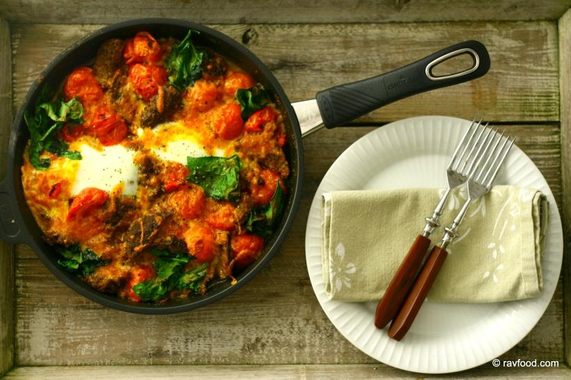 Hverdagspande Med Bøf Tomat Spinat Og Spejlæg Ravfood
