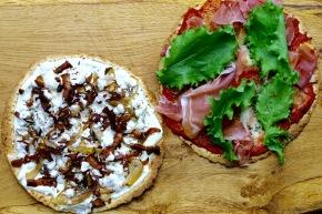 2 slags pizza på low carbtortilla
